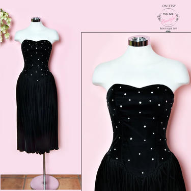vtg Black Velvet Strapless Evening Dress Rhinestones Full Skirt, 1950's, 1960's, 1970's, Vintage Dress, Fit & Flare Party Gown Size 4, Small by Boutique369