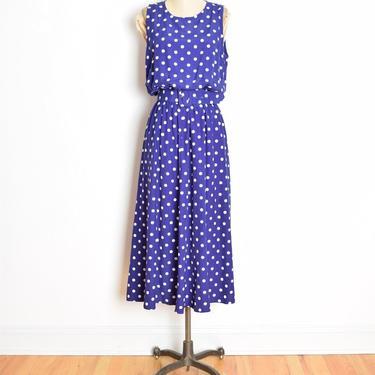 vintage 80s dress purple polka dot print bloused long maxi belted dress L XL clothing by huncamuncavintage