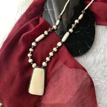 Carved Bone Necklace, Large Pendant, Statement, Tribal Ethnic, Hook Closure, Boho Bohemian, Vintage by GabAboutVintage