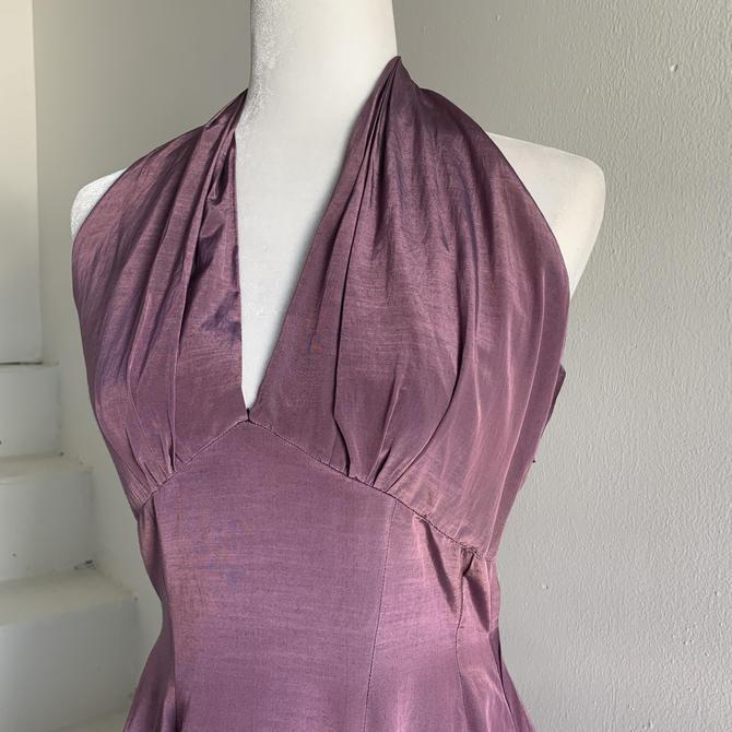 1950s  Silky Halter Gown 36 Bust Vintage Handmade by AmalgamatedShop