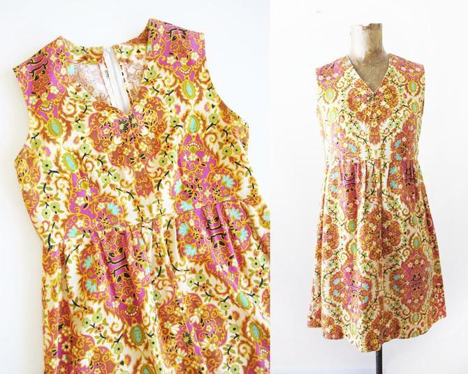 Vintage 60s Dress XS - 60s Barkcloth Floral Mini Dress - Boho Paisley Sundress - 1960s Shift Dress Pink Yellow Orange Dress Indian 60s Dress by MILKTEETHS