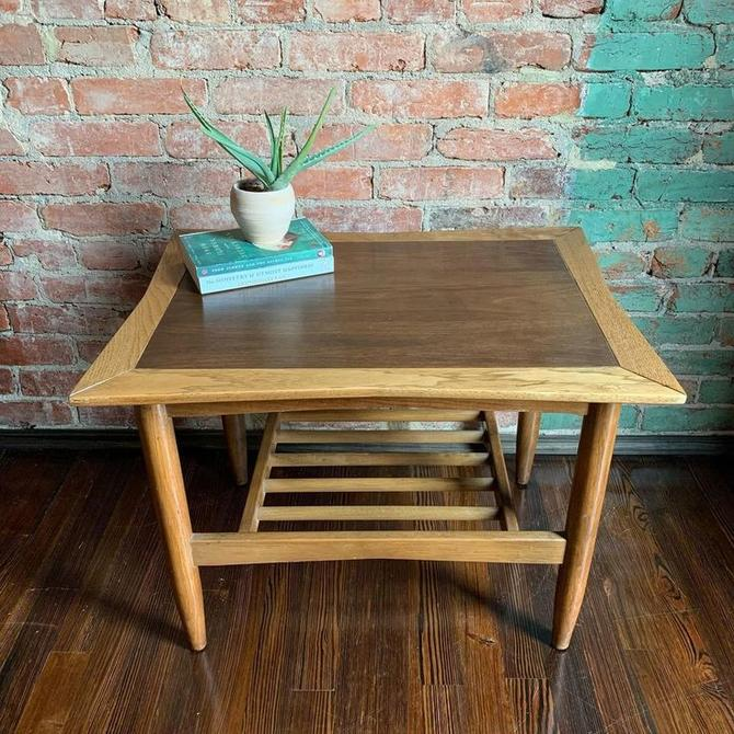 Mid-century modern mixed wood (walnut & ash) bow-tie top side table