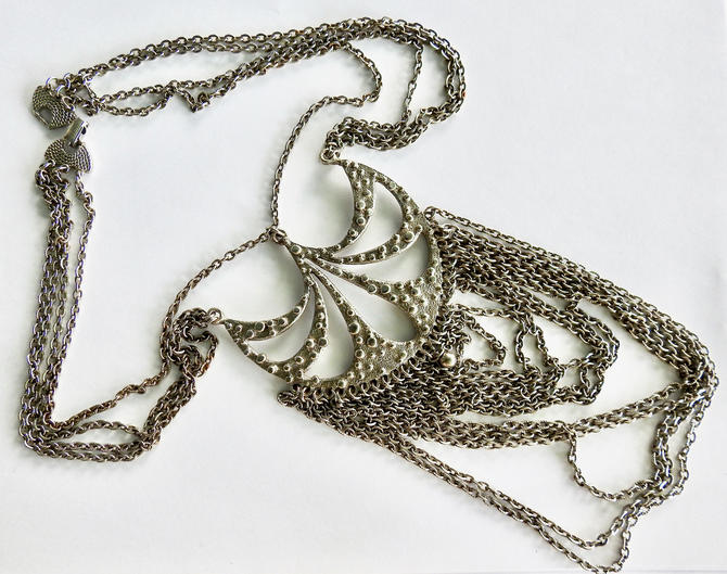 Goldette Type Modernist Textured Silver Tone Multi Chain Necklace by LegendaryBeast