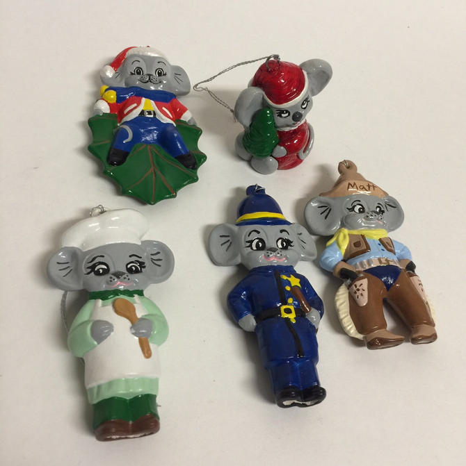 cute vintage kitsch christmas mouse ornaments christmas ornaments police chef cowboy cute mouse by