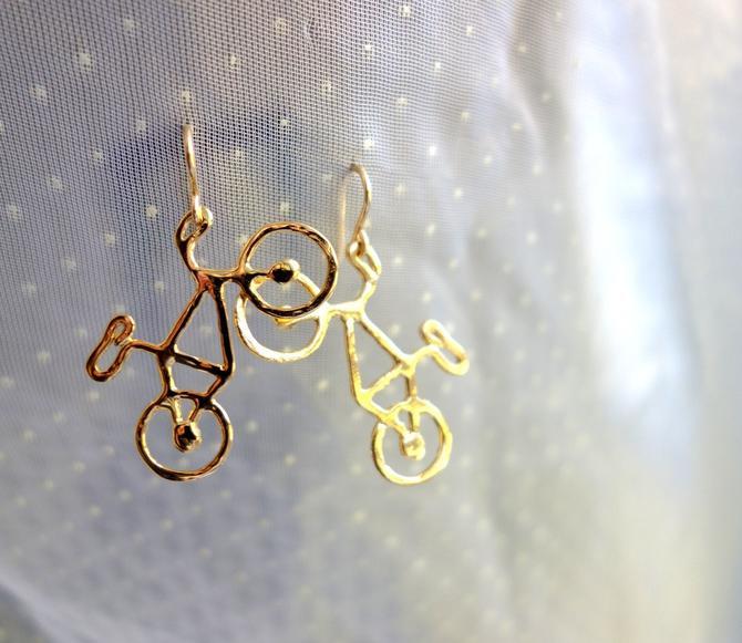 Gold Plated Bike Dangle Earrings - Handmade Bike Dangle Earrings by RachelPfefferDesigns