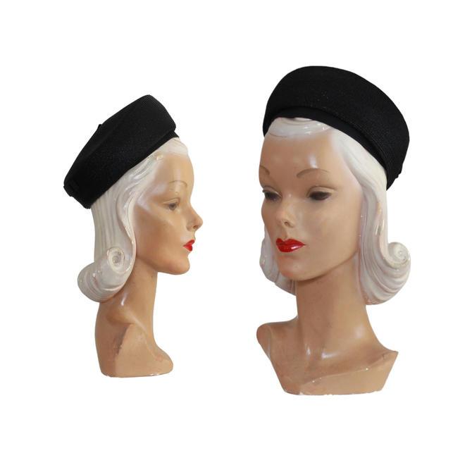 1960's Black Straw Pillbox Hat - 1960s Pillbox Hat - 1960s Black Hat - 1960s Womens Hat - Womens Black Hat - Black Pillbox Hat - 60s Hat by VeraciousVintageCo