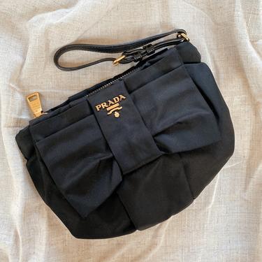 Vintage PRADA Milano Monogram Gold Logo BLACK Nylon Bow Wristlet Clutch Evening Bag Purse Handbag by MoonStoneVintageLA
