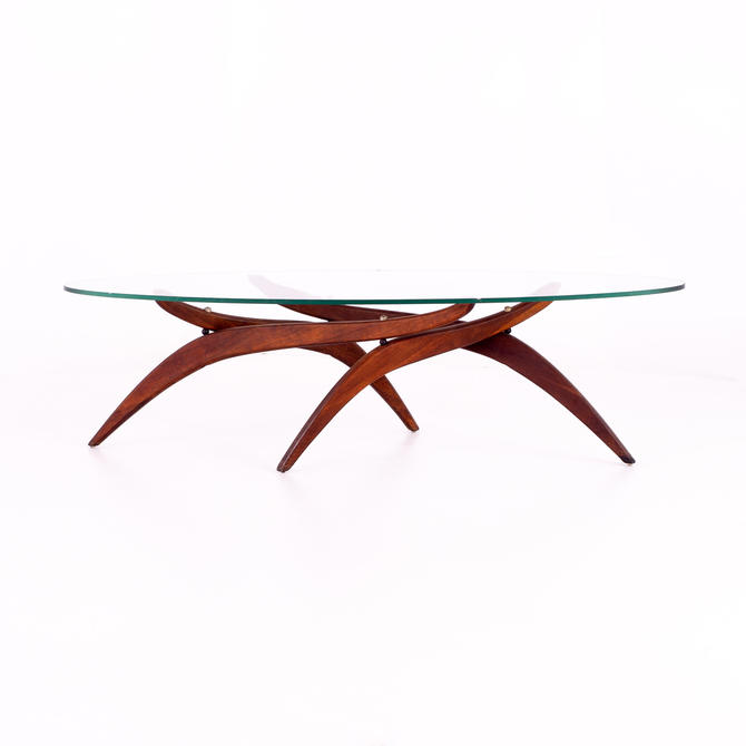 Forest Wilson Walnut and Glass Mid Century Sculptural Surfboard Coffee Table - mcm by ModernHill