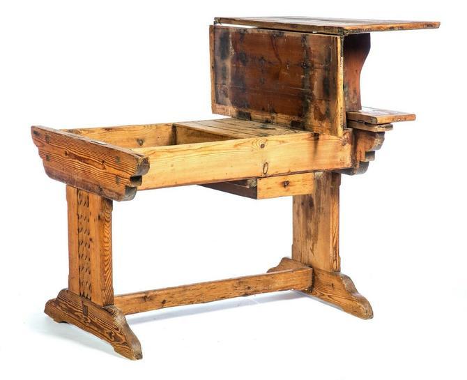 Antique European Primitive Farmhouse Folding Table Desk Island Bar Workbench