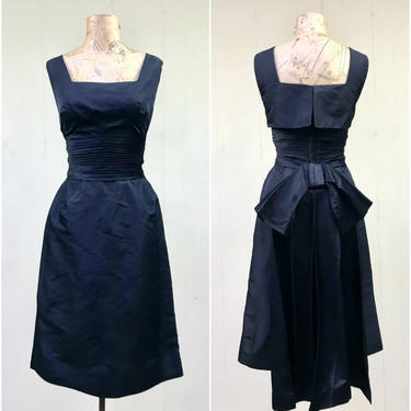 Vintage 1960s Little Black Dress, 60s Peau de Soie Wiggle Dress, Black Silk Satin Cocktail Dress, Sleeveless Frock Bow Detail, Small 34 Bust by RanchQueenVintage