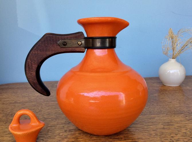 Vintage MCM Orange Ring Carafe Teapot Ring Pitcher - Oh yeah! by nauhaus