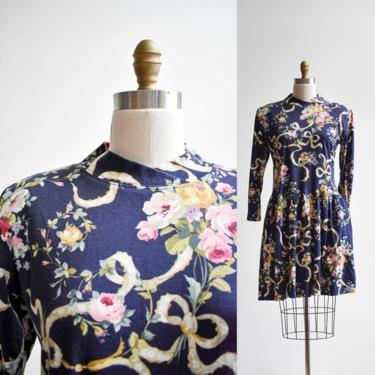 80s Navy Blue Floral Longsleeve Dress by milkandice