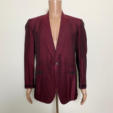 Vintage Tuxedo Jacket Burgundy and Black Dinner Jacket Slubbed Sharkskin by littlestarsvintage