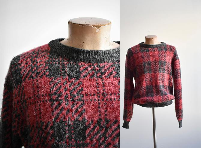 1980s Red & Black Fuzzy  Mens Sweater by milkandice