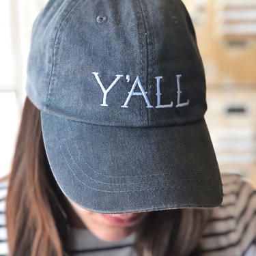 Y'all Hat - Embroidered Baseball Cap in Charcoal with Leather Strap + Brass Accent by CollectedATX