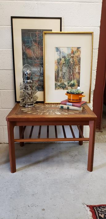 Danish Modern Side Table with Hand-painted Tile Top