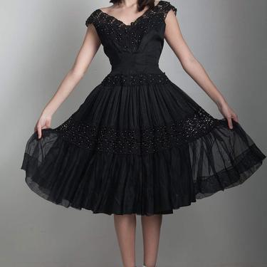 vintage 50s black party dress wasp waist fit and flare beaded lace full skirt XS S extra small - small by shoprabbithole