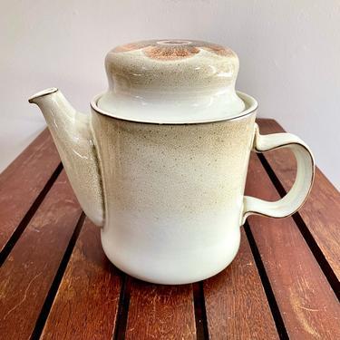 Vintage English Stoneware Teapot Tea Pot - Westbury by Denby, Denbyware, English Ceramic, Flower, Brown Beige Peach Pink, 1970s by VenerablePastiche