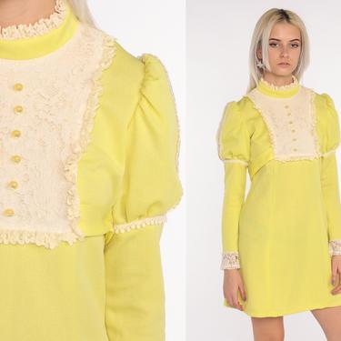 Yellow Lace Bib Dress Babydoll Dress 70s Mini Dolly Victorian Dress 60s Mod Minidress Empire Waist Puff Sleeve Vintage LOLITA Small by ShopExile