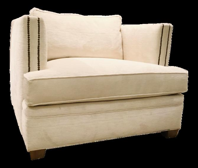 Caracole Modern Off-White Ribbed Chenille Club Chair