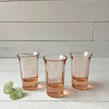 Vintage Blush Pink, Set of 3, Shot Glasses, Pink Barware, Boho, Eclectic Shot Glasses   Easter Shot Glasses, Housewarming Gift by CuriouslyCuratedShop
