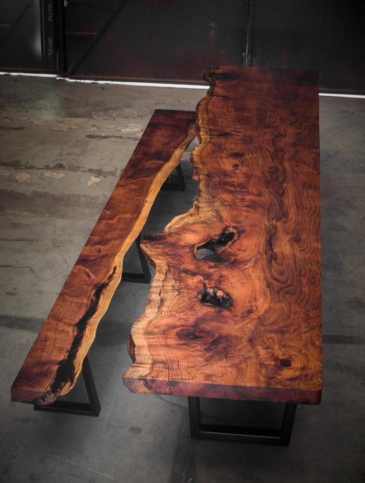 Huge Redwood Tree Live Edge Table & Bench by KirkpatrickDesigns