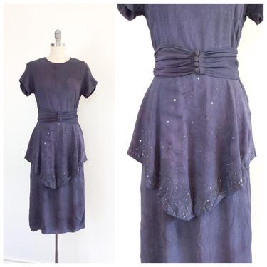 FINAL PAYMENT for CAITLIN /// 40s Star Studded Purple Galaxy Crepe Dress / 1940s Vintage Peplum Day Dress / Medium / Size 8 by CheshireVintageShop