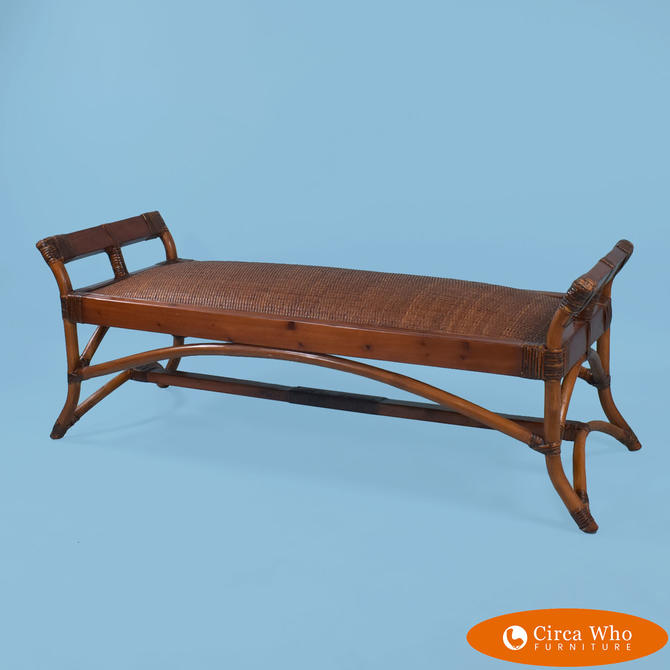 Burnt Bamboo Cane Bench