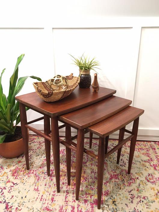 Walnut Nesting Tables Mersman, Vintage 1960s Mid Century End Table Set of three by VintageCoreReStore