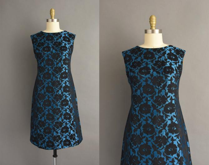 vintage 1960s | Gorgeous Midnight Blue & Black Floral Print Cocktail Party Dress | Large | 60s dress by simplicityisbliss