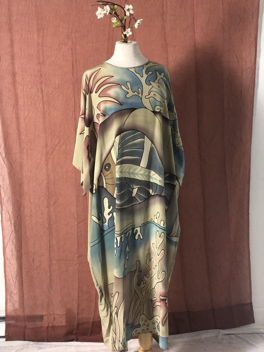 Vintage 1980s 1990s 90s Silk Tunic Caftan Kaftan Dress Hand Painted Novelty Fish Ocean Nature Motif Boho Bohemian Size Large Extra Large by KeepersVintage