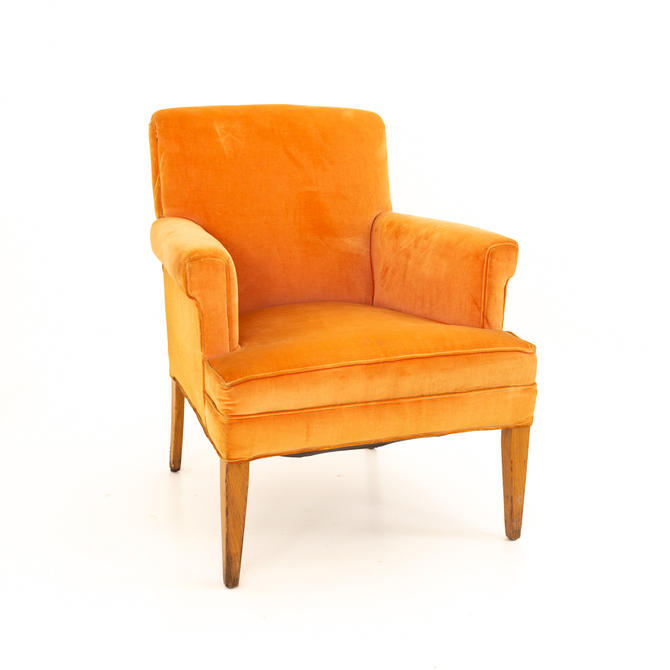 Mid Century Orange Velvet Lounge Chair - mcm by ModernHill