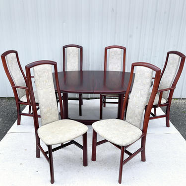 Danish Modern Rosewood Dining Set w/ Six Chairs & Table by Skovby by secondhandstory