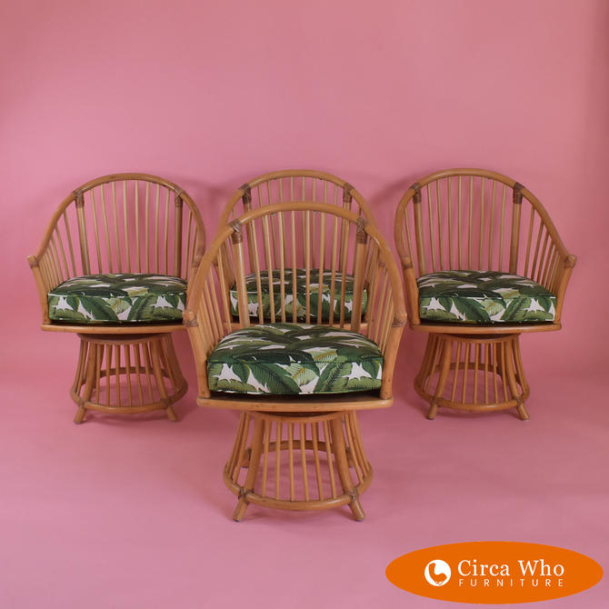 Set of 4 Barrel Swivel Chairs by Henry Olko for Willow & Reed