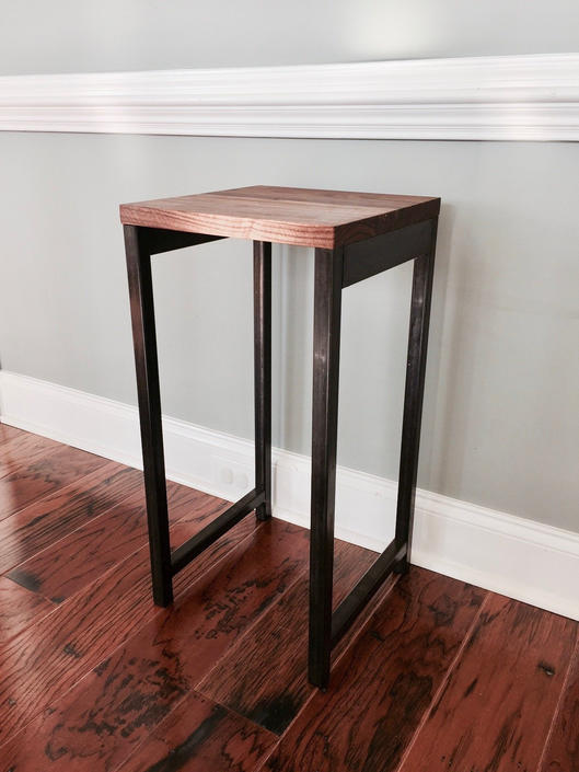 The CLINT Plant Stand - Reclaimed Wood & Steel Side Table by arcandtimber