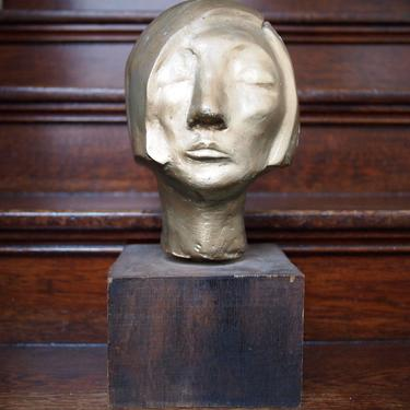 """Vintage GOLD Painted BUST SCULPTURE Carved Wood? Female Woman, 16"""" High, Mid-Century Modern folk art bronze portrait head eames knoll era by refugegallery"""