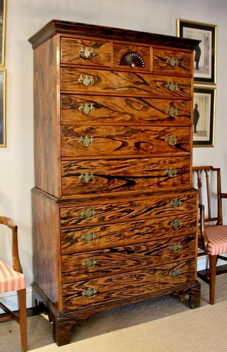American Chippendale Chest on Chest in Exceptional Rosewood Grain Paint Decoration on Maple, 18th Century