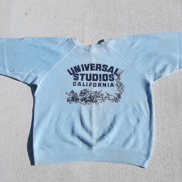 Vintage Sweatshirt Universal Studios 1950s 1960s Small Distressed Discolored few fleabites Preppy Grunge Casual Athletic Crewneck Pullover by RetroVintageClothing