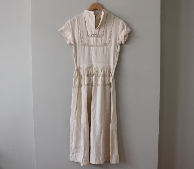 Vintage Off White Lace & Cotton Linen Short Sleeve Summer Dress Women's Size XS by NeonSkyVintageMN