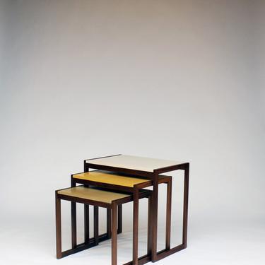 Elton Yellow Concrete Modern Nesting Tables by CrumpandKwash