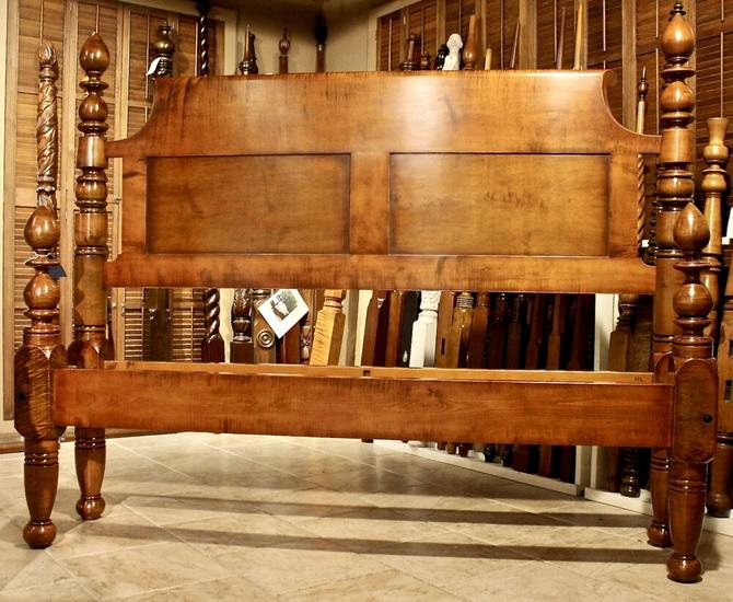 Turnip Top Bed in Heavy Stock Figured Maple, Original Posts Circa 1830, Resized to King