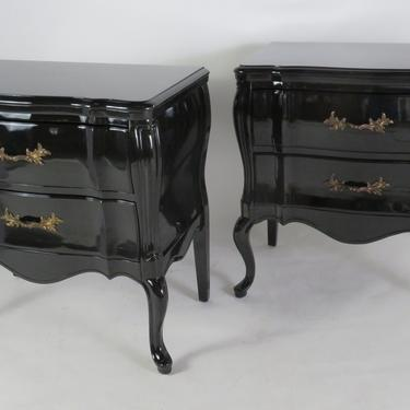 1940s Black Lacquered Nightstands Transitional Louis XV Style Commodes