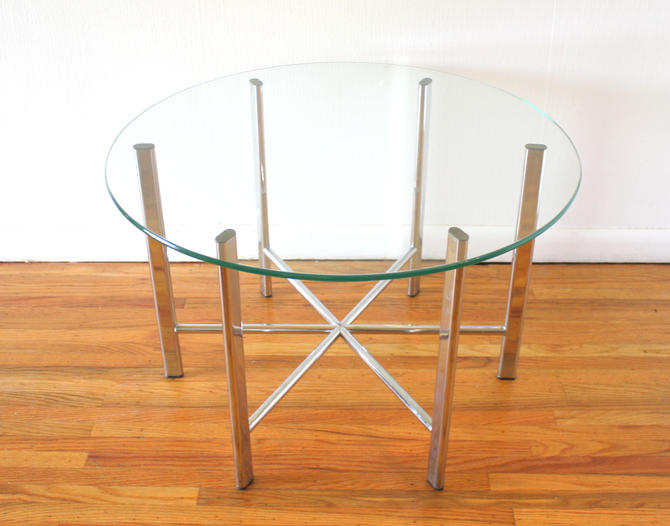 Mid Century Modern Chrome and Glass Starburst Table
