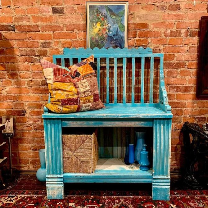 Bright blue hallway bench made from reclaimed wood