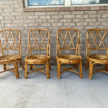 Set of Four Mid Century Paul Frankl Style Bamboo and Rattan Accent or Dining Side Chairs by PrimaForme