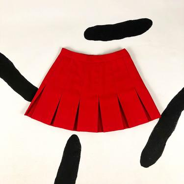 Vintage Red Pleated Tennis Skirt / Mini Skirt / Large / 90s / y2k / 00s / Clueless / Cyber / Club Kid / Rave / L / Size 12 / Athletic / by badatpettingcats