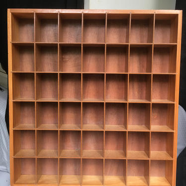 Vintage Wooden Open Display Case Wall Curio Shadow Box 42 Compartments by BellewoodDesignGoods