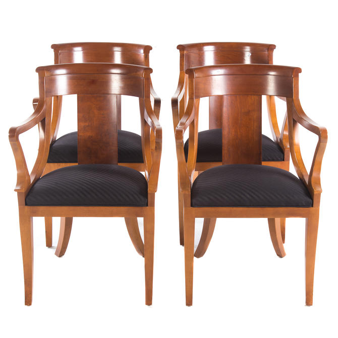 Four Baker French Empire Style Dining Chairs