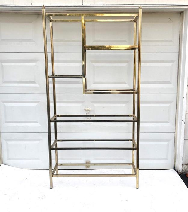 Vintage Modern Brass and Glass Etagere by secondhandstory