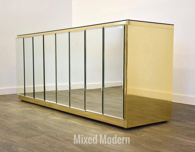 Ello Modern Brass and Glass Credenza by mixedmodern1